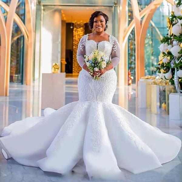 Plus Size Mermaid Wedding Dresses Luxury Lace Appliques Ruffles Wedding Dresses Bridal Gowns Long Sleeve Robe De Mariee DM012