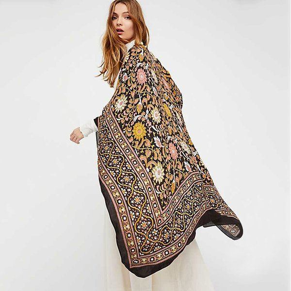 Summer fashion new ladies shawl beach bat sleeve sun blusa estilo de impresión nacional gasa cardigan flojo