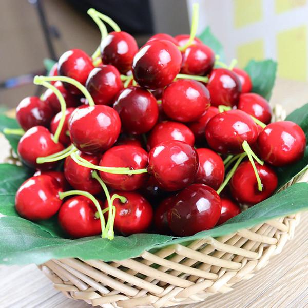 Compre Simulación De Fruta Artificial Cereza Frutas Falsas Cerezas De Plástico Decoración De Fiesta De Verduras Mesa De Cereza Roja Decoración De Boda
