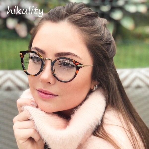 90311 New 2019  Vintage Round Frame Clear Glasses Female Transparent Lens Metal Arm Spectacle Eyeglasses for Women