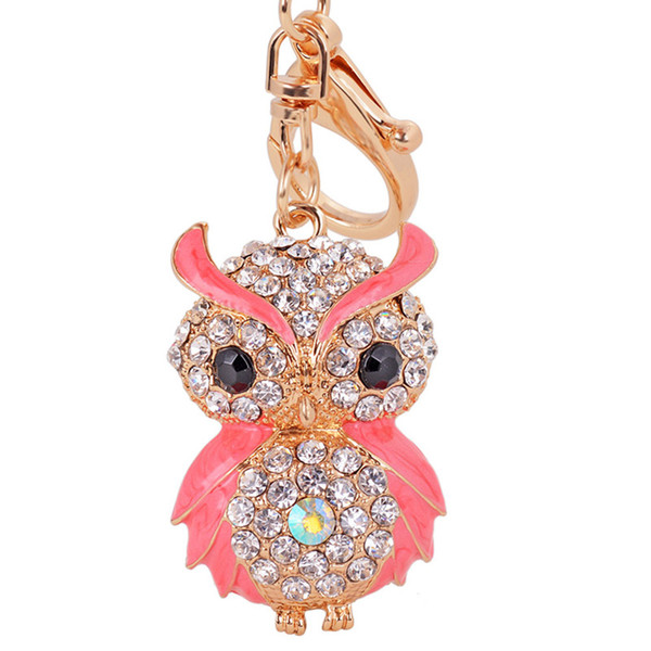 Metal Owl Pendant Keychain Novelty Item Crystal Charms Gold Color Key Rings Chain Creative Personality Trinket For Women Bag