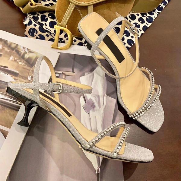 En kaliteli bahar yeni Avrupa klasik yüksek topuk sandalet rhinestone bar Glyte bayanlar ayakkabı Paris süpermodel podyum gösterisi toka deri qe