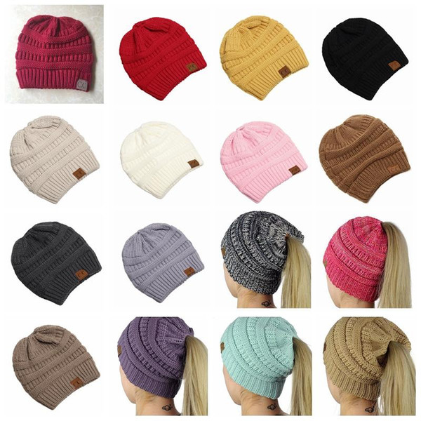 3f108f1f CC Ponytail Caps CC Knitted Beanie Fashion Girls Winter Warm Hat Back Hole  Pony Tail Autumn Casual Beanies Fedora Hat From Haynes, $1.69| DHgate.Com
