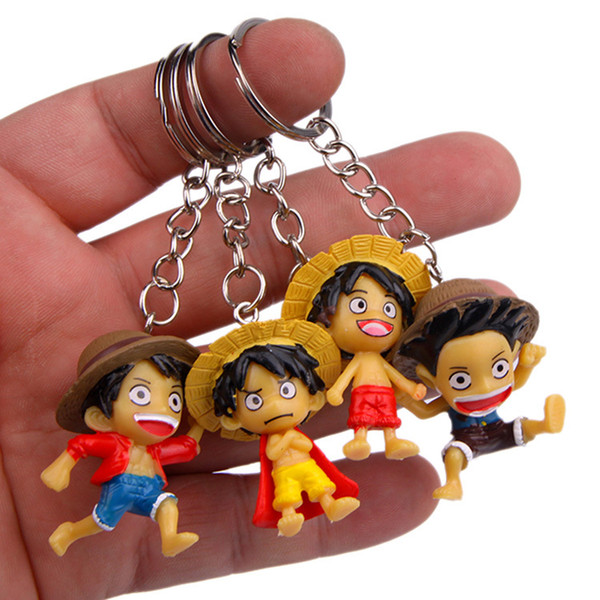 One Piece Keychain Mini PVC One Piece Luffy Figure Key Chain Key Rings Holders Will and Sandy Drop Shipping