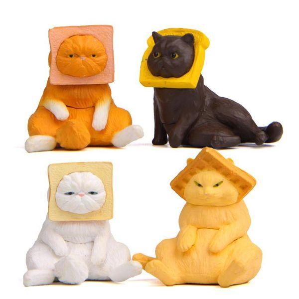 Kidsparty Head clip toast sturdy Japanese cat PVC Mini Action Figure cartoon Doll figurines playset Toy Home decor toys