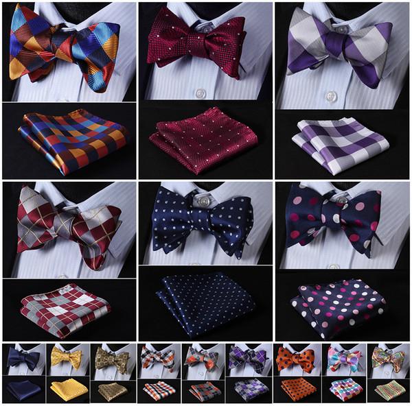 Check Silk Men Butterfly Self Bow Tie Bowtie Pocket Square Handkerchief Hanky Suit Set