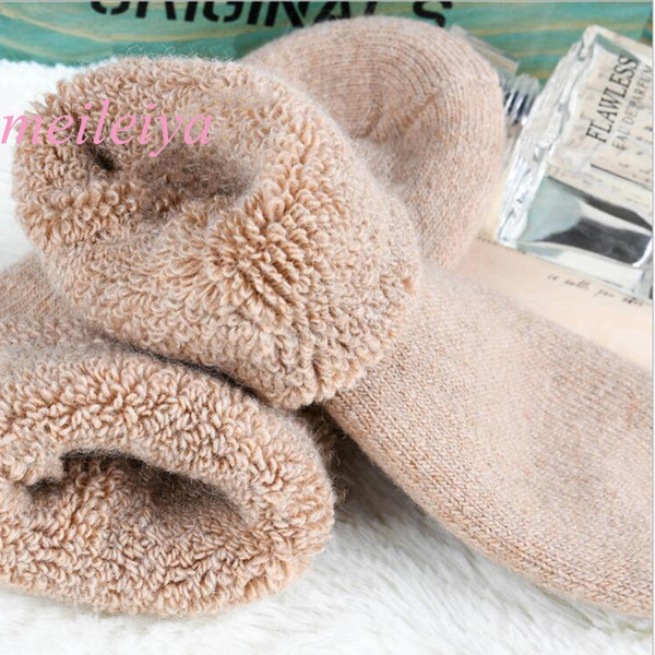 5 Pair/bag Super Thick Rabbit Wool Socks Thickening Terry Socks Men's Winter Tube Solid Color Multicolor Warm men's
