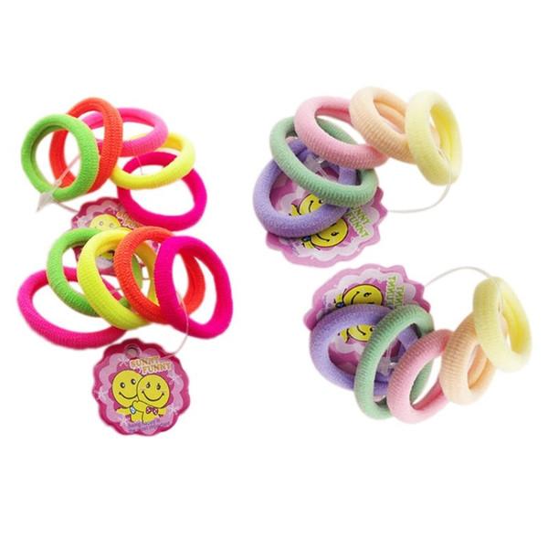 5PCS Ragazze 2,5 cm Piccolo Asciugamano Corda per Capelli Fluorescente / Colore Solido Chiaro Alta Elasticità Laminati Ponytail Holder Bambini