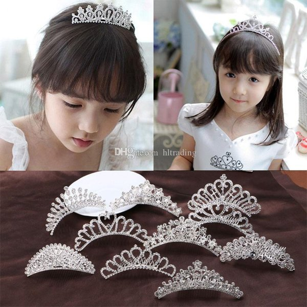 Baby girls princess Crown Princess combs Mini Twinkle Rhinestone Diamante Crown Hair Comb Hair Clip Tiara for Party Wedding C6694