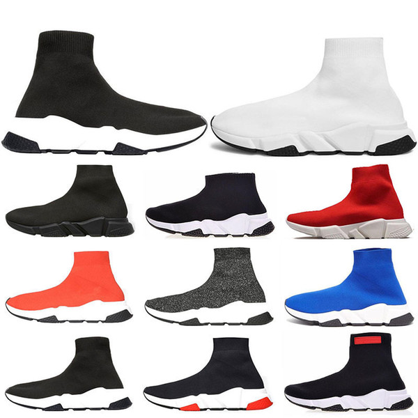 2019 designer men women Speed Trainer Luxury Brand Sock Shoes black white red glitter Flat fashion mens Trainers Runner size 36-45