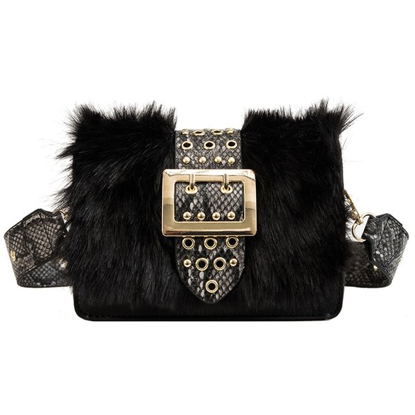 Womens Ladies Faux Fur Chain Crossbody Bag Messenger Over Shoulder Bag Handbag