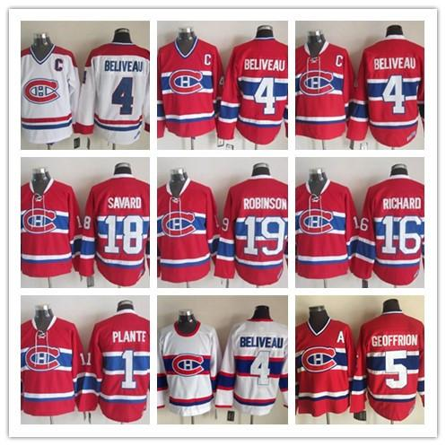Montreal Canadiens 4 Jean Beliveau Vintage Classic Hot Sale Men 16 Henri Richard Red White 19 Larry Robinson Ice Hockey Jersey