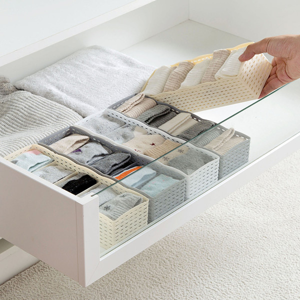 5 Grids Wardrobe Storage Box Basket Organizer Socks Bra Underwear Storage Box Plastic Container Organizer For Women Men