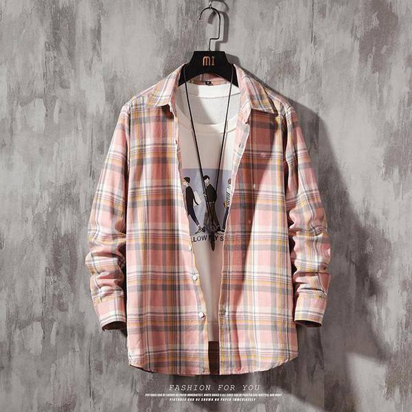 2019 spring autumn flannel men plaid shirt long sleeve men's warm casual shirts british cotton mens check shirt plus size 5xl