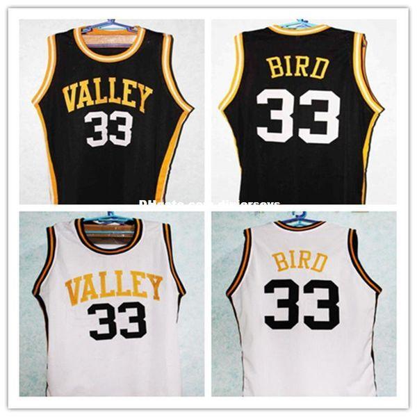 LARRY BIRD # 33 VALLEY HIGH SCHOOL Retro Top BasketballJERSEY Nero bianco Personalizza qualsiasi numero di dimensioni e nome del giocatore