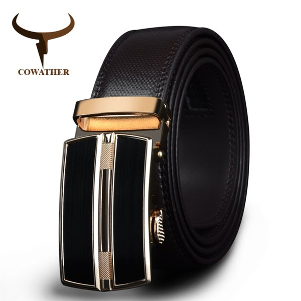 wholesale 2019 Automatic Buckle black brown cow Genuine Leather men Belts strap for male Fashion Brand cinto masculino CZ047