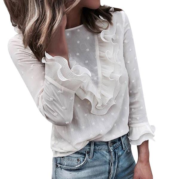 여자의 t- 셔츠 단색 긴 소매 프릴 디자인 레이온 소재 패션 뜨거운 판매 레이스 디자인 O-목 캐주얼 여성 T 셔츠