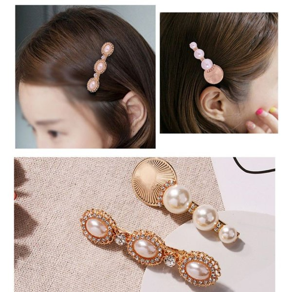 Vintage Palace Style Decorative Duckbill Hair Clip Women Imitation Pearl Glitter Rhinestone Hairpin Metallic Disc Decor Barrette
