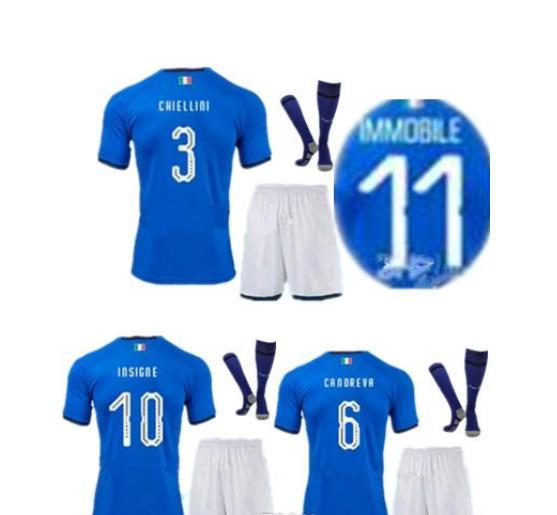 COUPE DU MONDE 2018 maillots de football de l'équipe nationale de football de Maillot de Verratti à domicile maillot de football IMMOBILE EL SHAARAWY maillot de football italien Kits + chaussette