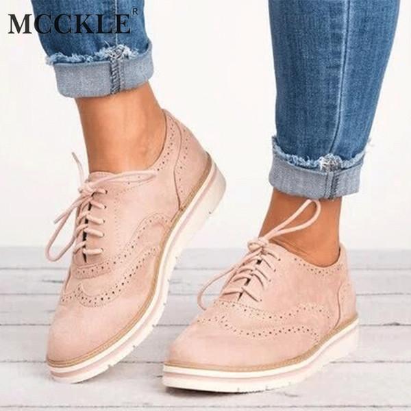 MCCKLE Plus La Taille Femmes Plat Plate-Forme Creuse Chaussures Oxfords Britannique Style Dames Creepers Brogue Chaussure Pour Femme À Lacets Chaussures
