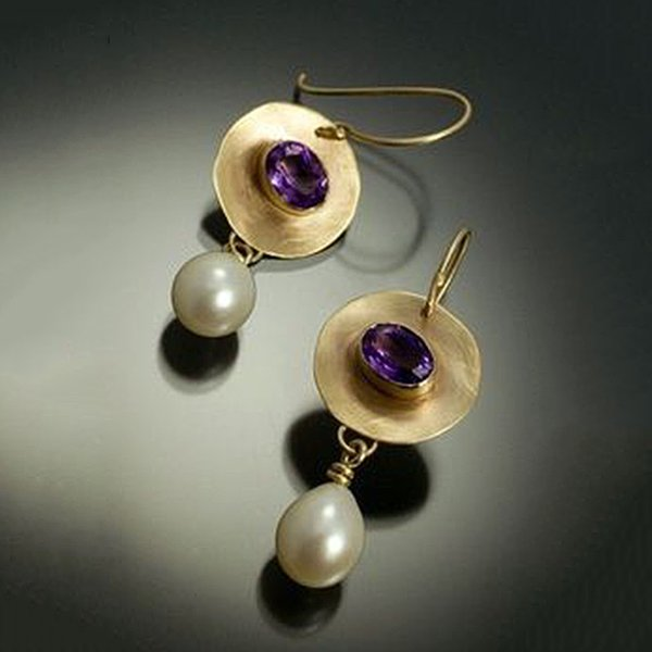 Vintage Gold Color Simulated Pearl Earrings Purple Stone Disc Pendant Dangle Earring For Women Elegant Fashion Jewelry O3d279