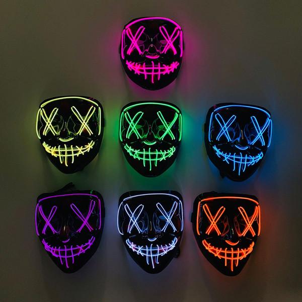 Hasta la luz del LED Máscara Máscara divertido Gran Festival / Año Nuevo traje de Halloween cosplay 6 estilos para su opción del envío 2pcs mini orden