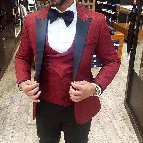 2019 Three Pieces Burgundy Wedding Mens Suits for Groom Tuxedo Slim Fit Custom Suits( Jacket+Vest+Black Pants)