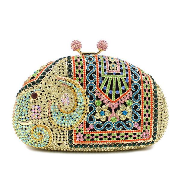 Dgrain Elegant Elephant Women Crystal Evening Clutch Bags Mix Color Animal Handbag and Purse Wedding Party Diamond Bag Clutch Evening Bag