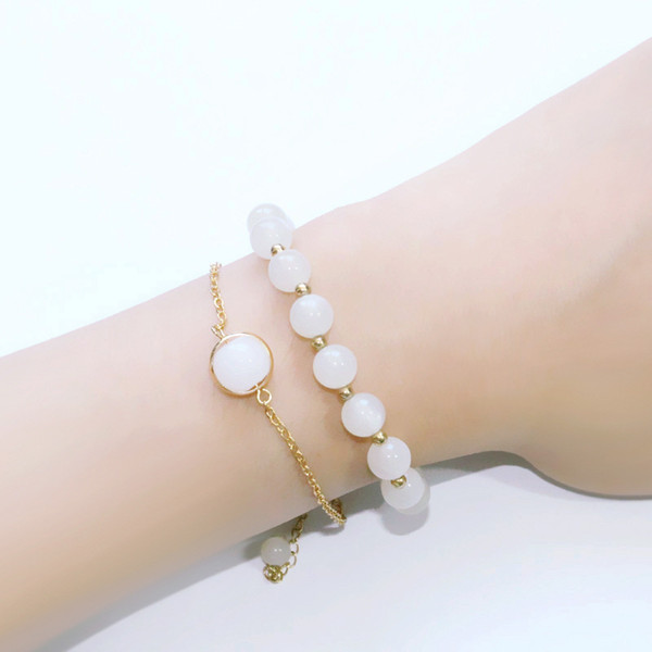 5styles Gold Bracelet Chain with Murano Glass Essential Oil ball Natural Stones Beads Bracelets Perfume Bracelets For Women