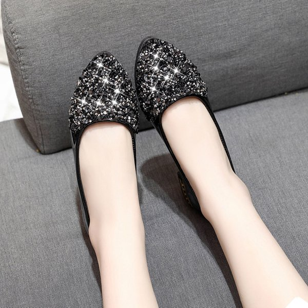 Designer Dress Shoes Women Sequins Shallow Rhinestone Slip On Low Heel Pointed Single T8726