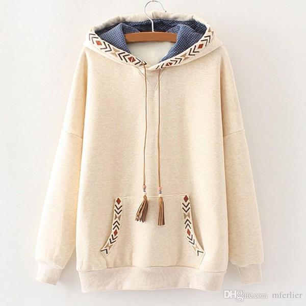 Mferlier Sweatshirt Hooded Women Embroidery Tassel Long Sleeve Pullovers Mori Girl Thicken Warm Autumn Winter Hoodies