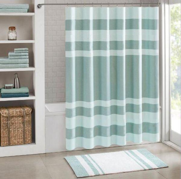 Banyo Setleri Duş Perdesi Polyester Elyaf Pencere Perdeleri Şerit Baskı Su Geçirmez Kumaş Kabul Küf Geçirmez Yeni Yüzük H055 Vermek