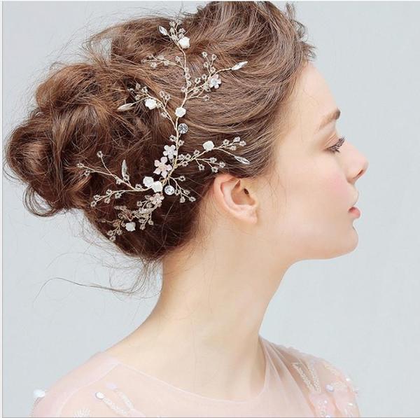 Bride's crisp hair crystal hairpin wedding handmade headdress trim Clip Wedding Jewelry