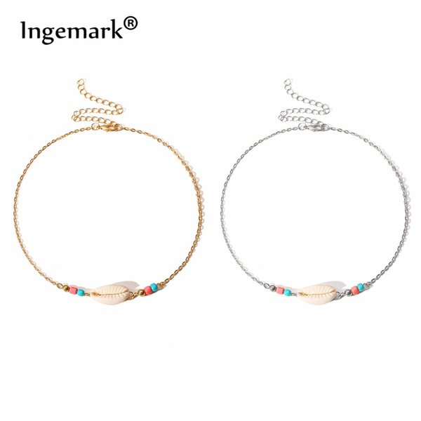 Minimalist White Shell Pendant Choker Necklace for Women Silver Gloden Short Chain Collier Fashion Jewelry Female Gifts