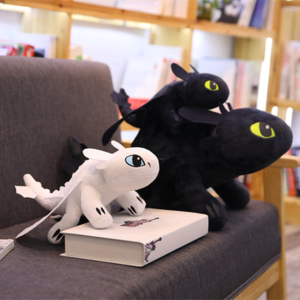 35cm How to Train Your Dragon Plush Toy Toothless Light Fury Soft White black Dragon Stuffed Movie Anime Plush Animals Doll kids toys