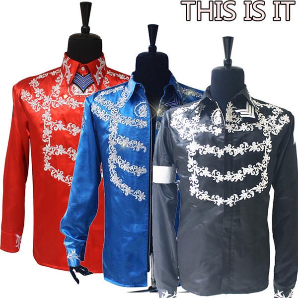 RJ Fashion MJ Michael Jackson الولايات المتحدة الأمريكية This is It Handmade 100٪ Crystal on Silver Printing Shirt Jacket in 3 Color