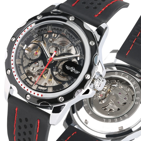 Unique Skeleton Dial Automatic Mechanical Watch for Men Silicone Strap Watches for Male Luxury Automatic Watch Friends