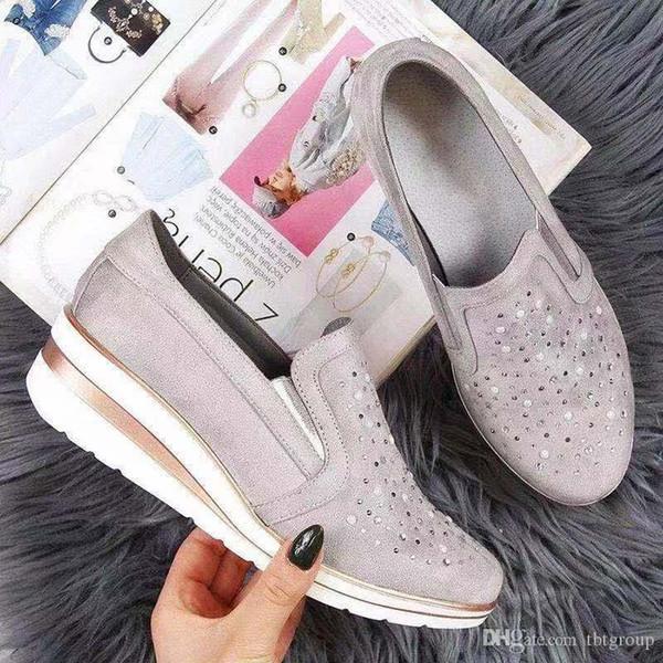 Le nuove donne del progettista calza i pattini della piattaforma in pelle di lusso della moda tacchi alti delle scarpe da tennis sport pompa scintillio Rosa Grigio partito Casual Shoes
