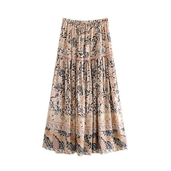 Эластичная талия юбка женщины бохо цветочный принт весна лето богемный отдых на море юбка с разрезом по бокам длинная юбка для пляжной одежды новый faldas