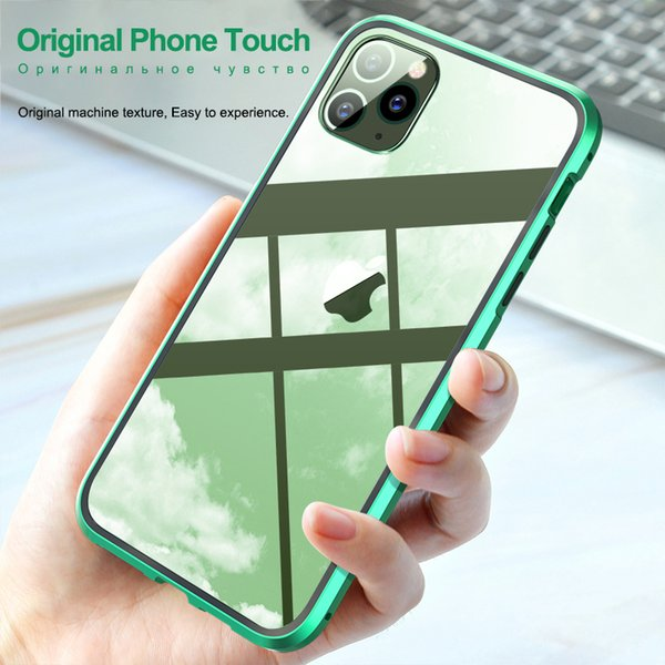 360 Metal Magnetic Phone Case For iPhone 11 Pro Max Case Double Side Tempered Glass Cover