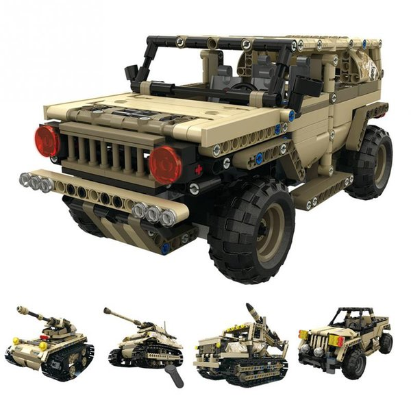 RC Building Blocks DIY Assemble Toy 4 Channels Remote Control Military Car Truck Light Tank heavy Tank Rocket car for kids toys