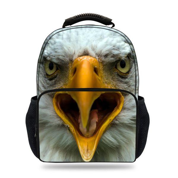 15inch 3D Animal Print Bag For Children Eagle Felt Backpack For Kids Girls Boys School Teenagers