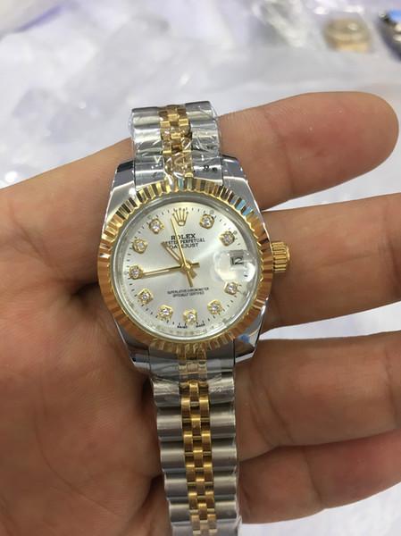 Presente de natal suíço relógios Automáticos caixa Original certificado mulher 26mm 18kt Ouro Presidente CHAMPAGNE Diamante 118238 SANT