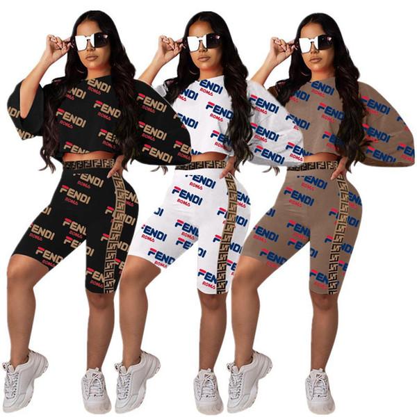 Mujeres F Carta Chándal Raglan Manga suelta Camiseta Crop Top + Shorts Conjunto de 2 piezas Camiseta con estampado FF Pantalones cortos Trajes Ropa de traje de verano