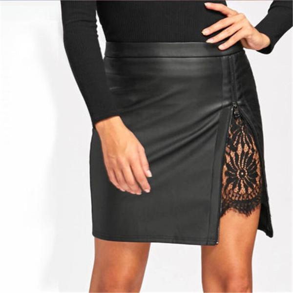 2018 Lady PU Leather Fashion Short Mini Skirt New Sexy Women High Waist Lace Patchwork Pencil Faldas New Sexy 3 Color Falda S-XL