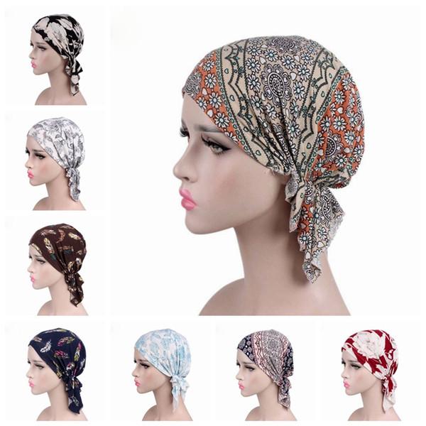 WEIXINBUY 2019 НОВАЯ Мода Женщины Цветок Мусульманских Рюшами Рак Chemo Hat Шапочка Шарф Тюрбан Голова Wrap Cap F4