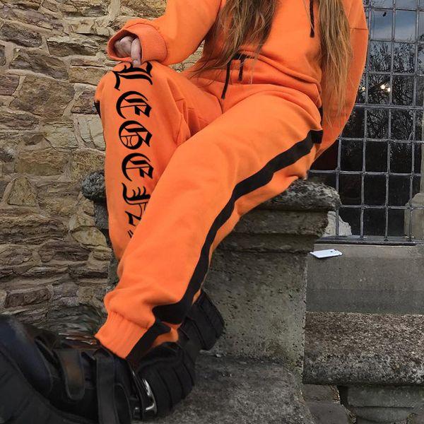 Letter Print Loose Trousers Contrast Color Women ' ;S Hip -Hop Pants Elastic Waist Colorful Full Trousers Fashion New Style Harem P
