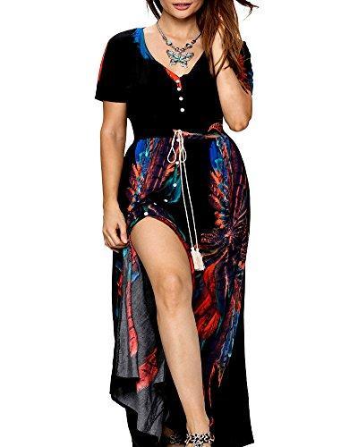 Roiii Women Vintage Phoenix Print Split Summer Beach Short Sleeve V Neck Long Maxi Dress Size 6-24