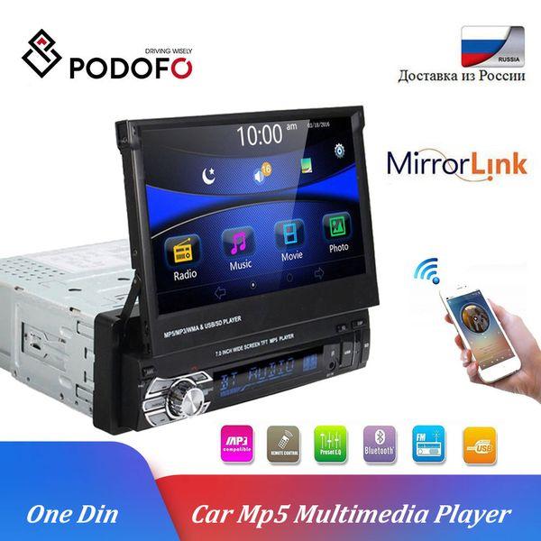Podofo 1 din Multimedya Oynatıcı Stereo ses Bluetooth Araç Radyo GPS 1DIN 7