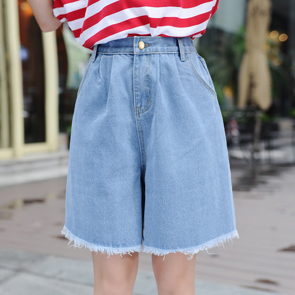 High Waist Denim Shorts Size 3xl Female Short Jeans For Women Half Long Summer Ladies Hot Shorts Solid Tassel Denim Shorts J190425